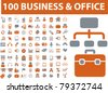 100 business & office icons, signs, vector illustrations - stock photo