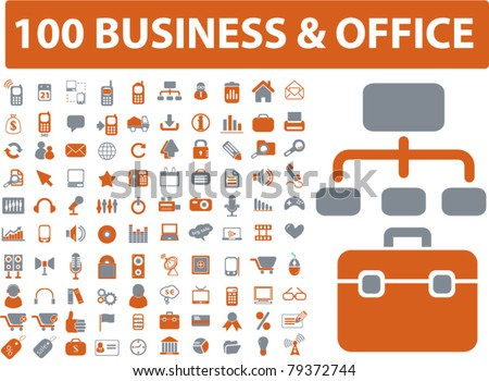 100 business & office icons, signs, vector illustrations - stock vector