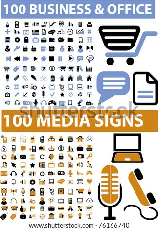 100 business & office & media icons, signs, vector illustrations