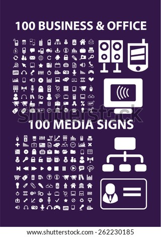 200 business, office, media, music icons, signs, illustrations concept design set on background, vector - stock vector
