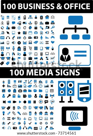 200 business & office & media signs, vector - stock vector