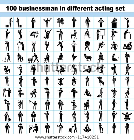 100 business people set, business man in different acting, 100 actions set, worker set, office people set - stock vector