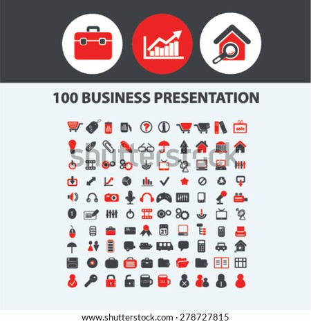100 business presentation icons, signs, illustrations set, vector - stock vector