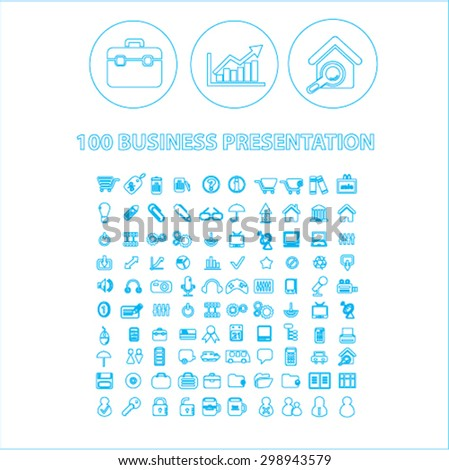 100 business presentation outline isolated signs, icons vector set for web, application, design. - stock vector