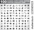 100 business, supply chain, shipping, shopping and industry icons - stock photo