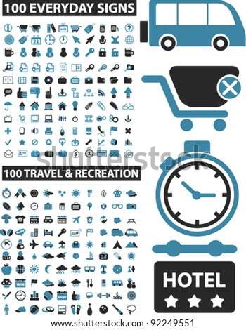 200 business & travel icons set, vector illustrations - stock vector