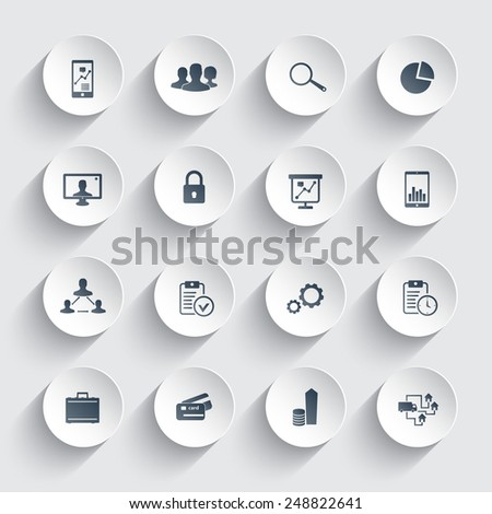 16 business trendy round icons vector illustration, eps10, easy to edit - stock vector