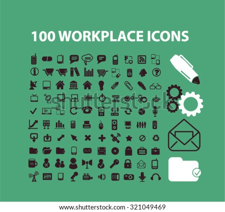 100 business, workplace, office supplies, tools, equipment icons - stock vector