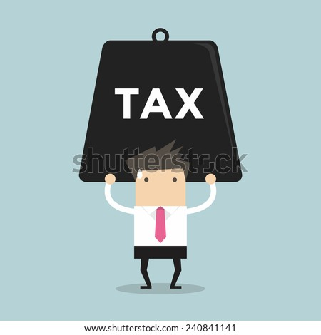 Businessman carrying heavy tax. - stock vector
