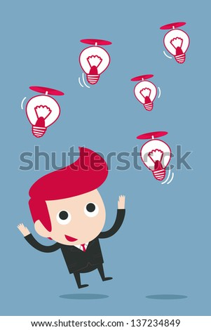businessman catching bulb idea, vector - stock vector