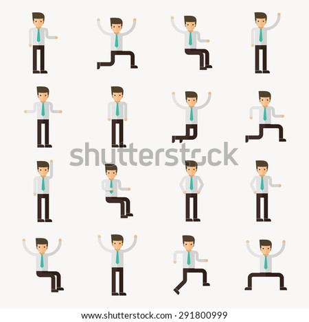16 businessman character actions vector - stock vector