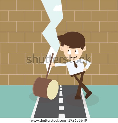 businessman determined  breaking wall with hammer - stock vector