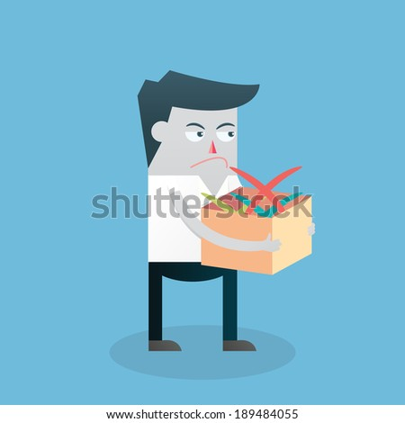 Businessman holding rejected sign in box