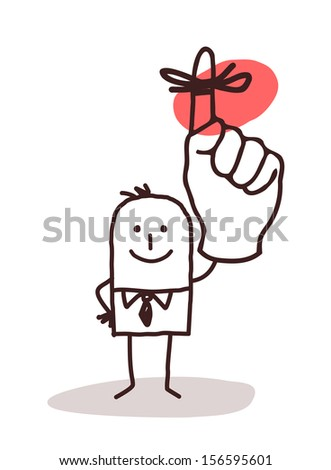 Businessman Holding Up Finger with Reminder Ribbon - stock vector