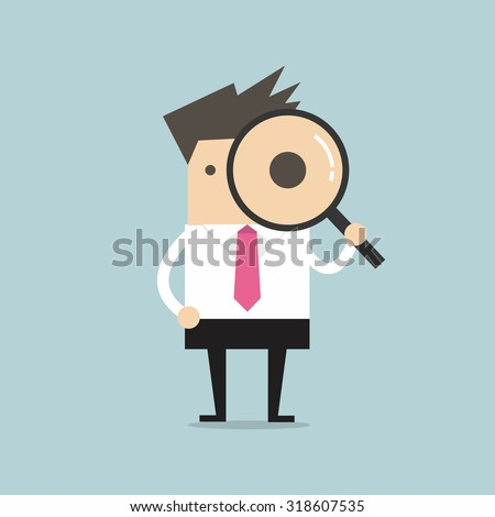 Businessman looking through a magnifying glass - stock vector