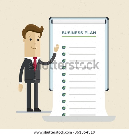 Businessman or manager. A man in a suit shows a business plan. Illustration, vector, EPS10.