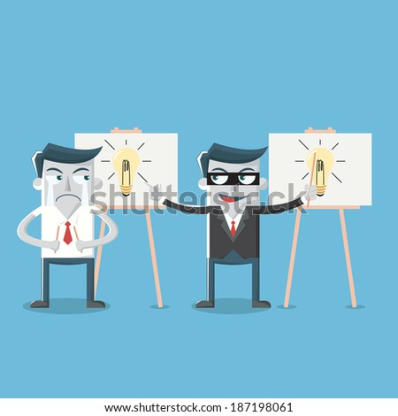 Businessman steal ideas light bulb  - stock vector