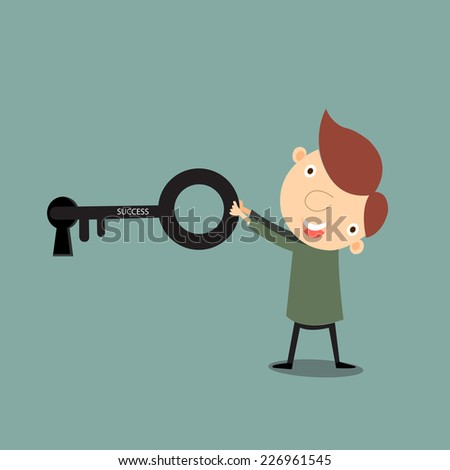 ?Businessman with big key and key hole to success, Business concept,vector,illustrator.  - stock vector