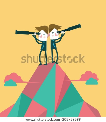 Businessmen on the top peak with telescope. Concept of business vision and teamwork. vector illustration - stock vector