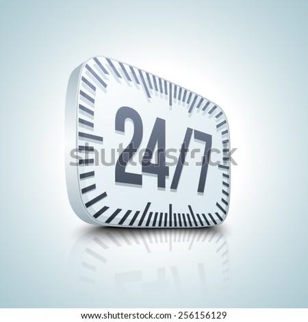 24/7 button - stock vector