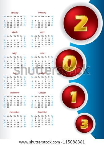 2013 button calendar design with golden numbers - stock vector