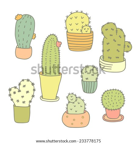 8 Cactuses Icons Set. Cute Doodle Cactuses On White Background. - stock vector