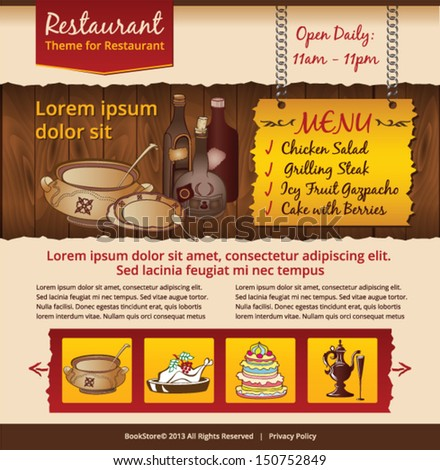 cafe website design template  - stock vector