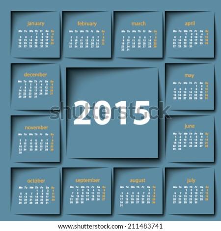 2015 calendar - stock vector