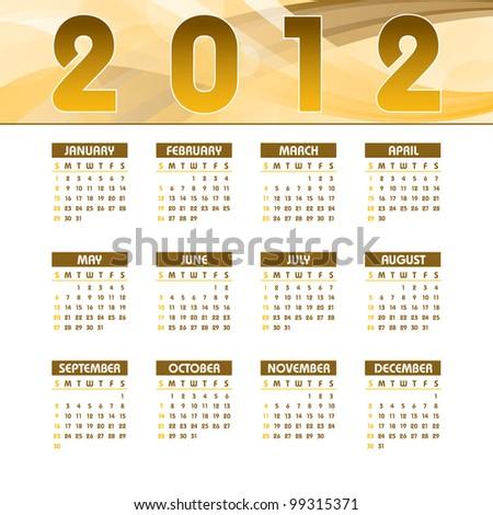 2012 Calendar. - stock vector