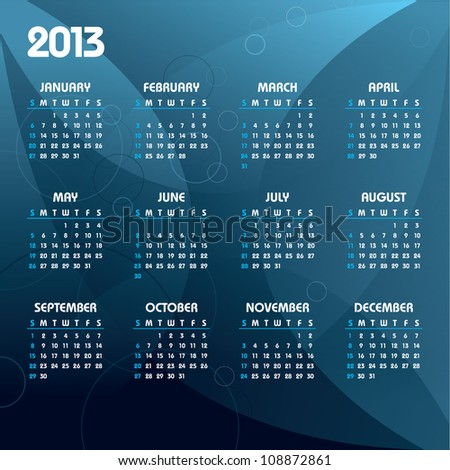 2013 Calendar. Abstract Background in eps10. - stock vector