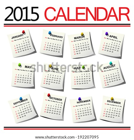 2015 Calendar against white background - stock vector