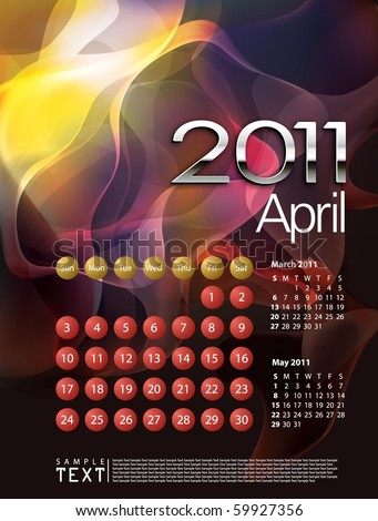 2011 Calendar April - stock vector