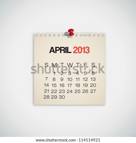 2013 Calendar April Old Torn Paper Vector - stock vector