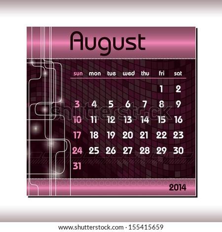 2014 Calendar. August. - stock vector