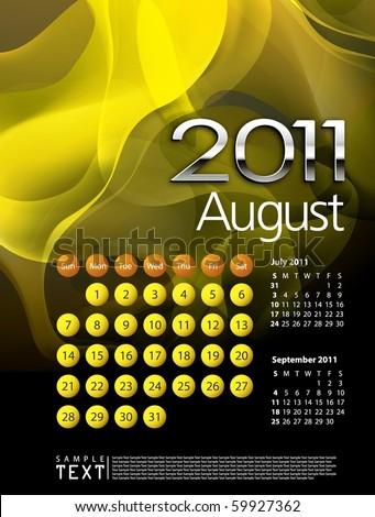 2011 Calendar August - stock vector