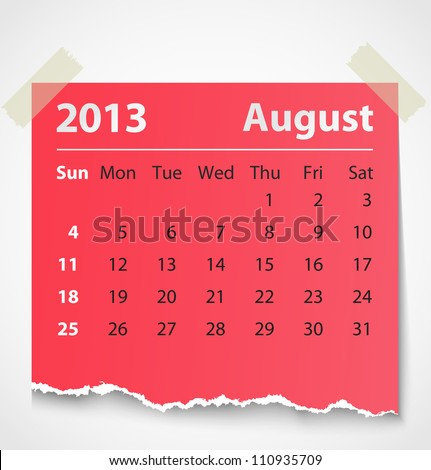 2013 calendar august colorful torn paper. Vector illustration - stock vector