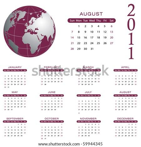 2011 Calendar - August - eps10 - stock vector