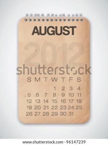 2012 Calendar August Grunge Texture Notebook Vector - stock vector
