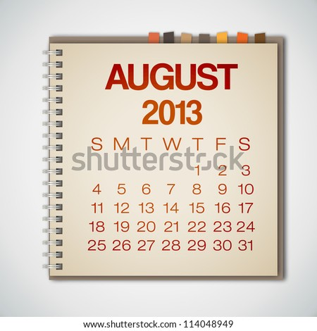 2013 Calendar August Notebook Vector - stock vector