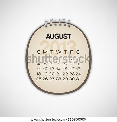2013 Calendar August Old Torn Paper Vector - stock vector