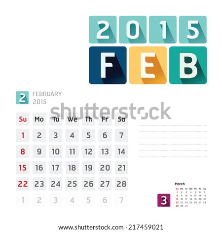 2015 Calendar Calendar Vector  Design. February - stock vector