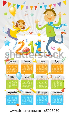 2011 calendar, children's party - stock vector