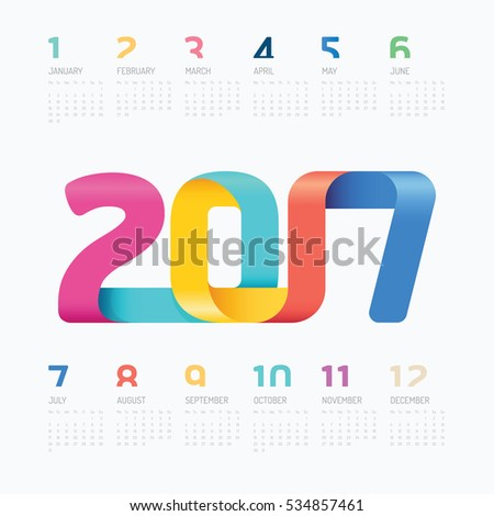 2017 Calendar colorful ribbon concept, vector design.