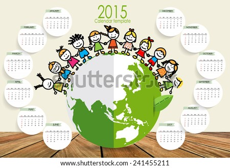 2015 calendar, Cute children on Green Eco Earth. Vector illustration. - stock vector