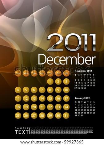 2011 Calendar December - stock vector