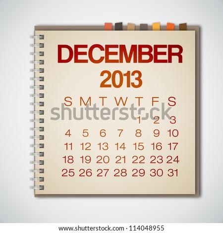 2013 Calendar December Notebook Vector - stock vector