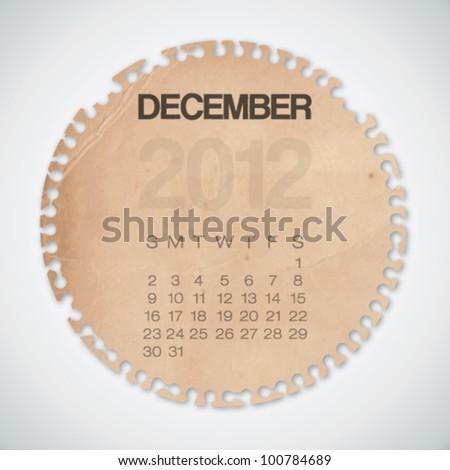 2012 Calendar December Old Circle Torn Paper Vector - stock vector