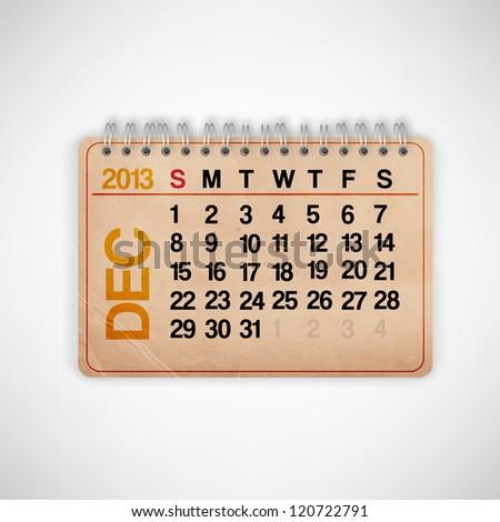 2013 Calendar December Old Grunge Texture  Vector - stock vector