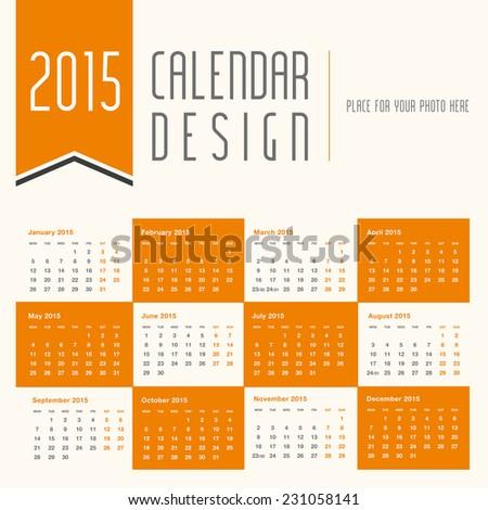 2015 calendar design - stock vector