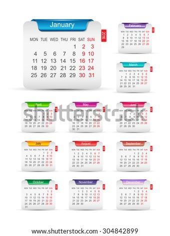2016 calendar design - stock vector